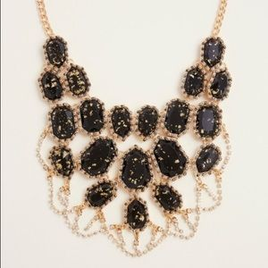 Gold Black Crackle Statement Necklace NWT